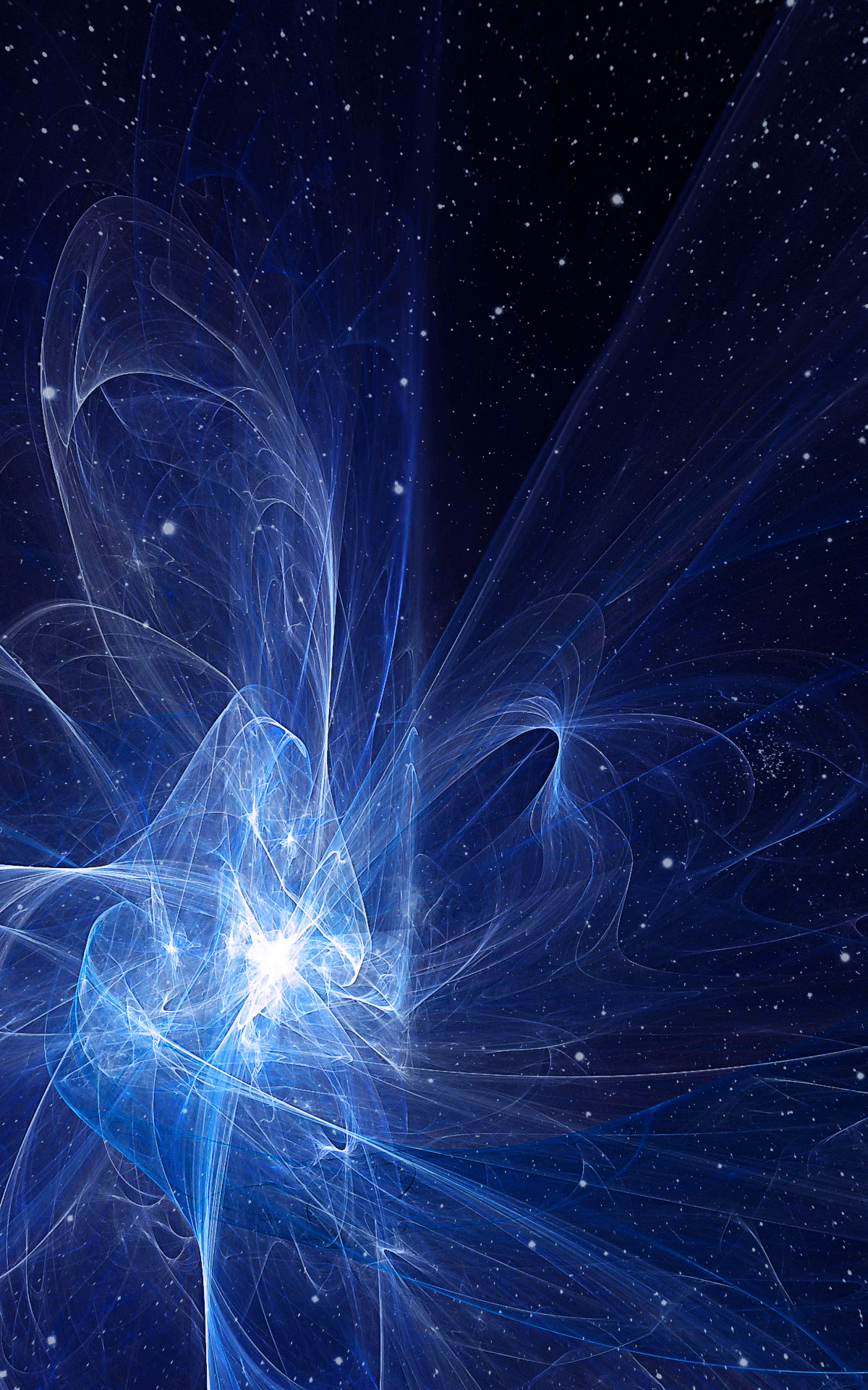 Digital light explosion in space with stars for your desktop